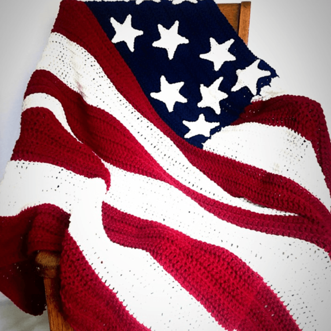 America Flag Crochet Blanket With Free Pattern Yarnhookneedles