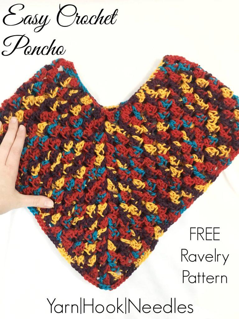 Easy Crochet Poncho with FREE Ravelry Pattern! - Yarn Hook Needles