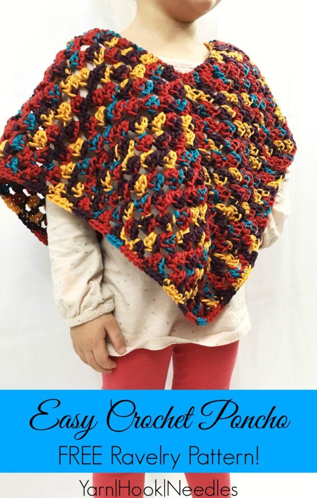 Easy Crochet Poncho With Free Ravelry Pattern Yarnhookneedles