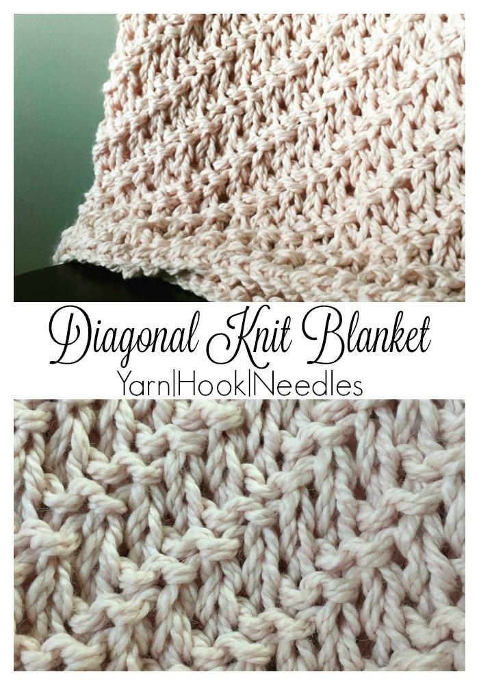 Diagonal Knitted Blanket With Free Pattern Yarnhookneedles