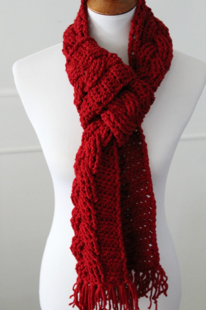 Crochet Cable Scarf Using One Skein Of Yarn